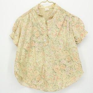 Vintage Tan Floral Pop Over Short Sleeve Top